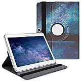 kwmobile Carcasa Compatible con Samsung Galaxy Tab 4 10.1 T530 / T535 - Funda de Cuero sintético para Tablet Cielo Estrellado Azul/Negro