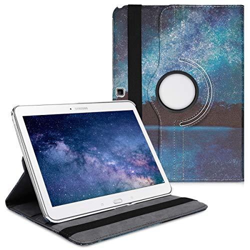 kwmobile Cover Compatibile con Samsung Galaxy Tab 4 10.1 T530 / T535 - Custodia per Tablet Rotazione 360° Stand Similpelle - Acqua e Luna Blu/Nero