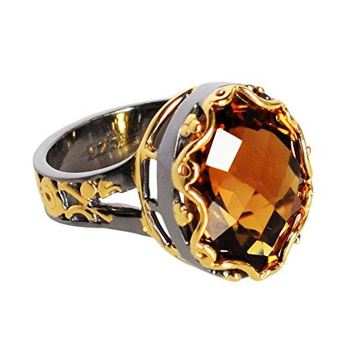 Anillo chapado en oro de plata de ley 925 con piedra preciosa de cuarzo champán, joyería de diseño para niñas FSJ-625, Piedra, Cuarzo Champán,