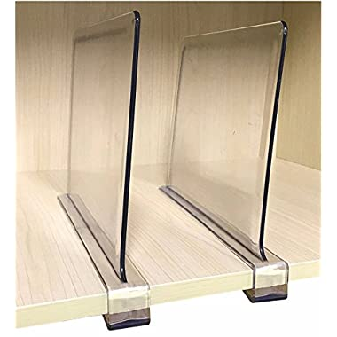 PengKe 4 Piece Multifunction Acrylic Shelf Dividers, Closets Shelf and Closet separator for Wood Closet, Only Need to Slide to Adjust the Appropriate Distance