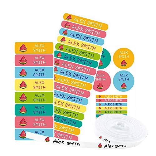 Pack 155 etiquetas personalizadas para marcar ropa y objetos. 100 Etiquetas de tela termoadhesiva + 55 etiquetas adhesivas de...