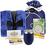 Get Well Soon Gift Basket - Get Well Gifts Care Package Includes Luxury Blanket Wellness Tea with Honey Insulated Mug Word Find Book, Pen Get Well Soon Gifts in Beautiful Bag (Blue)