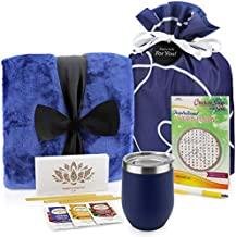 Get Well Soon Gift Basket - Get Well Gifts Care Package Includes Luxury Blanket Wellness Tea with Honey Insulated Mug Word Find Book and Pen Get Well Soon Gifts for Women or Men in Beautiful Bag