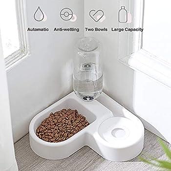 AYADA 2 in 1 Distributeur de Nourriture Eau Fontaine Automatique pour Animaux, Anti Débordement Abreuvoir et Alimentateur Croquettes Gamelle pour Chat/Chien, Bol Animaux Abreuvoir Pet Bowl(Blanc)