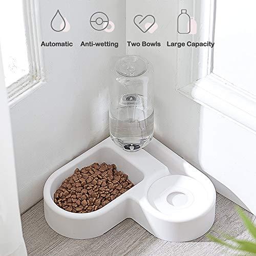 AYADA 2 in 1 Automatischer Futterautomat Wasserspender für Katzen Hunde, Auslaufsicherer Futterspender Trinkbrunnen mit Flasche,Hundenapf Fressnapf,Anti-Überlauf rutschfest Hunde Schüssel Näpfe(Weiß)
