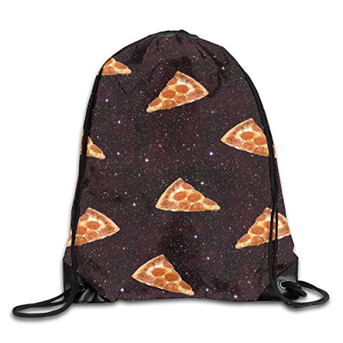 shenguang Pizza Galaxy Drawstring Sports Backpack Gym Yoga Sackpack String Bag Travel Storage Sack For Women And Men Suitable For School Swim Running Beach Outdoor