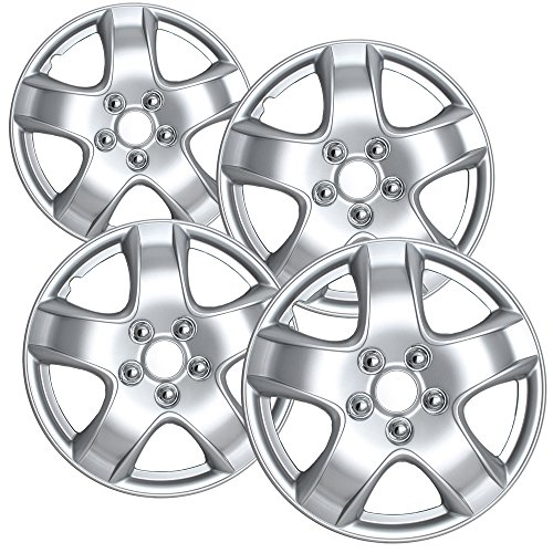 14 inch Hubcaps Best for 2005-2008 Toyota Matrix - (Set of 4) Wheel Covers 14in Hub Caps Silver Rim Cover - Car Accessories for 14 inch Wheels - Snap On Hubcap, Auto Tire Replacement Exterior Cap