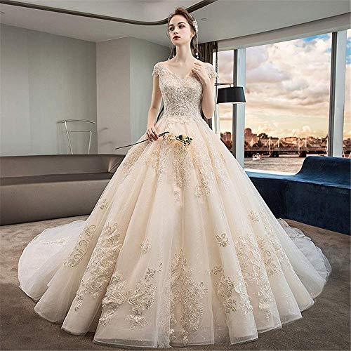 Kleider Tiefe V-Ausschnitt Brautkleid Glänzende Brautkleider Floral Lace Kurzarm Off Shoulder Brautkleid Mehrere Größen für die Hochzeit, LIFU, Champagner, Mittel