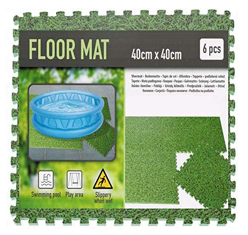 Pool Unterlage 40x40 cm im Rasen Design - 6 Stück / 0,96 m² - Bodenschutz Matte Unterlegmatte mit Stecksystem - Fitnessmatte Spielmatte