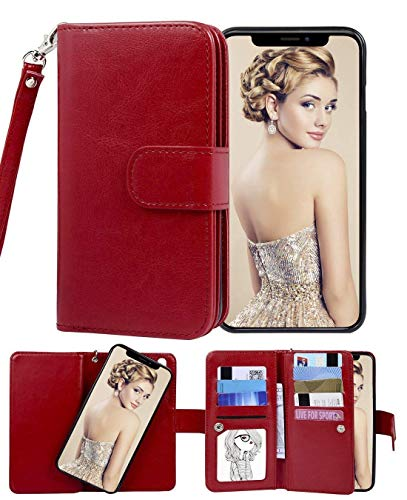 FLYEE Case Compatible with iPhone 11(6.1 inch,2019 Release),Wallet Case for Women and Girls with Card Holder,Detachable 2in1 Case with Many Cards Slots and Wrist Strap [Kickstand] PU Leather case-Red