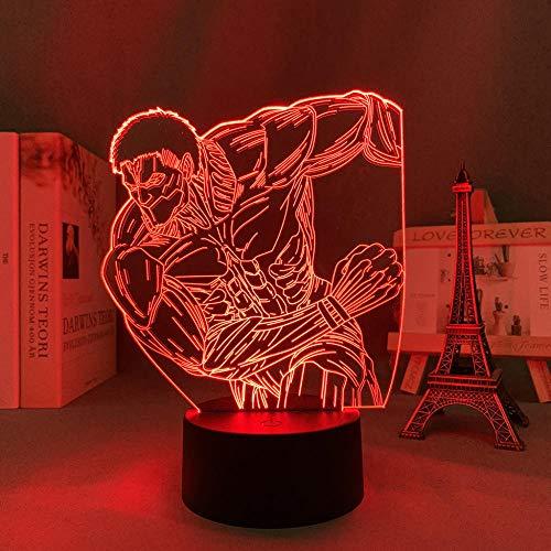 3D noche lámpara 3D luz anime ataque de gigante acorazado gigante dormitorio decoración luz regalo cumpleaños cómics ataque de gigante LED noche luz erjie