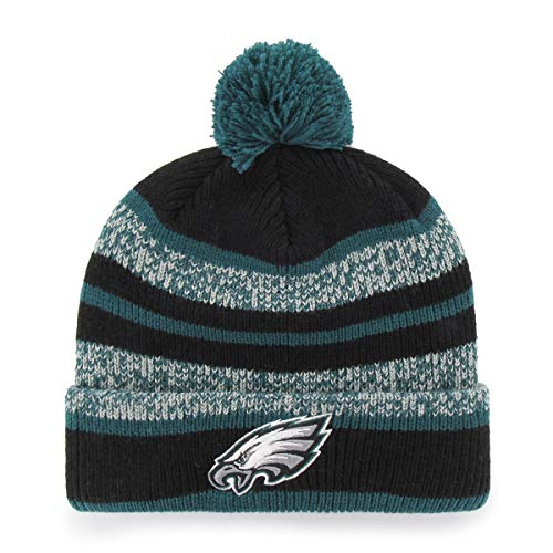 OTS NFL Philadelphia Eagles Men's Huset Cuff Knit Cap with Pom, Team Color, One Size