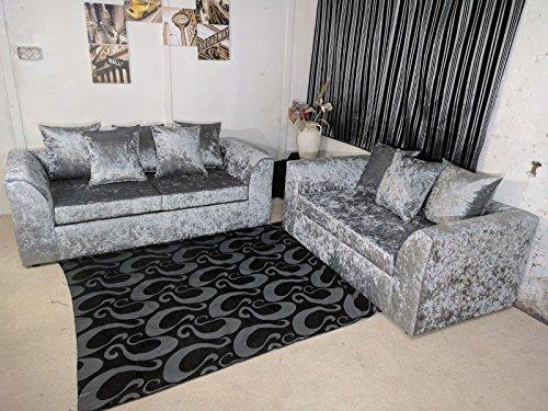 cheap online furniture Dylan 3- und 2-Sitzer-Sofa, Pannesamt, silberfarben
