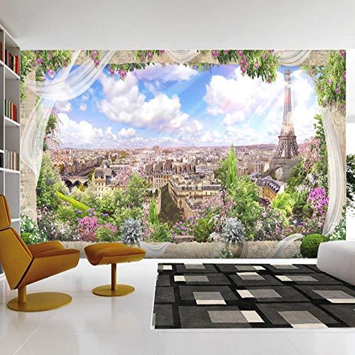 Wnyun 3D foto behang op maat -Silk doek Premium behang - muur muurschildering -Decoratie - Art Design - HD Print - Modern - Tv achtergrond moderne stad gebouw buiten het raam Scenery 200cmx140cm