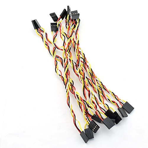 ZYAMY 10PCS 4P Dupont Line 4P Pins 254mm Pitch Female to Female Dupont Cable Connector Multicolor Jumper Wire for Breadboard 20CM