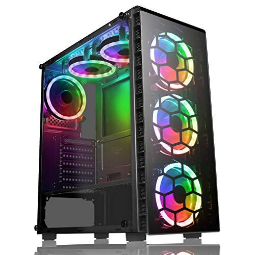 CiT Raider PC-Gaming-Gehäuse, Mid-Tower ATX Schwarze Sechs Ventilatoren
