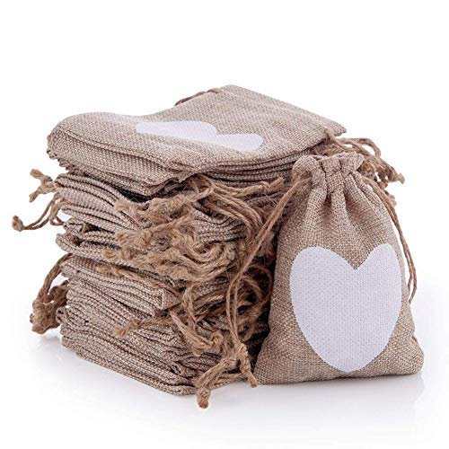 50 Pack Burlap Gift Bags Drawstring Burlap Treat Bags Heart Burlap Bags Small Jewelry Bags Jewelry Pouches Sacks Lavender Sachets with Heart for Wedding Party Favor