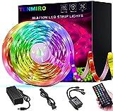 Tenmiro 32.8ft Led Strip Lights, RGB 5050 Color Changing LED Light Strips Kit with Ir Remote Led Lights for Bedroom, Kitchen, Home Decoration