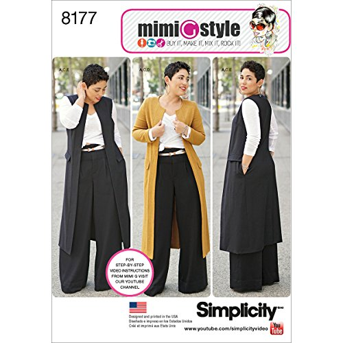 Simplicity patroon 8177 Mimi G stijl broek-, mantel of vest, en knit top voor Miss en Plus maten, wit