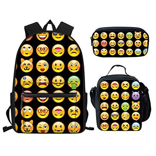 Cute Girls College Backpacks Emoji Design School Bags for Teenage Girls Women Small Bookbags and Lunch Bag Set of 3 Black