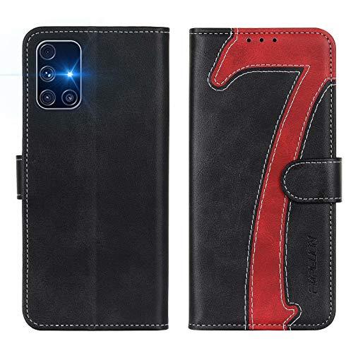FMPCUON Hülle für Samsung Galaxy M31S Handyhülle, Samsung Galaxy M31S Klapphülle, Flip Leder Wallet Cover Handytasche Schutzhülle Hülle für Samsung Galaxy M31S, Schwarz Rot