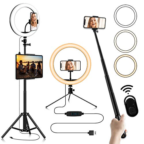 12-inch Selfie Ring Light, Selfie Stick Tripod 76.8-inch Expandable, Tablet Holder Mobile Phone Holder 3 Light Modes, for Makeup/Photography/YouTube/Vlog/TIK Tok/Live/Streaming with Bluetooth Shutter
