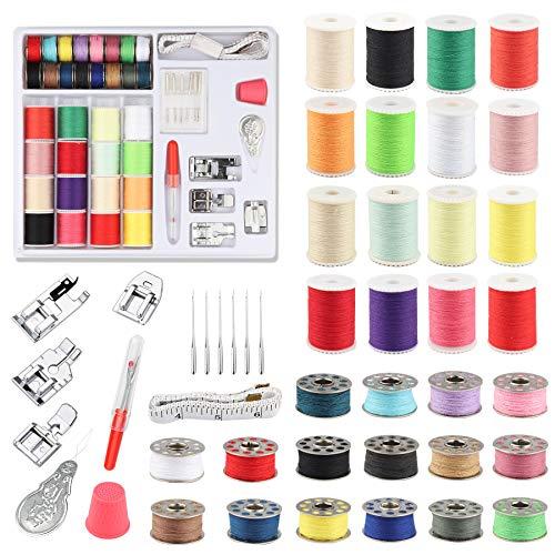 Kit de costura, 46 piezas de accesorios para máquinas de coser profesionales, prensatelas reemplazables, bobina inferior de acero inoxidable y bobina superior antideslizante incluida