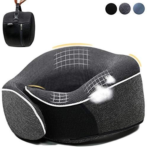 AIRTH® *NEU* 2020 Reise-Nackenkissen aus Memory-Foam - Nackenhörnchen mit optimaler 360° Stützfunktion jetzt zum Einführungspreis - schwarz