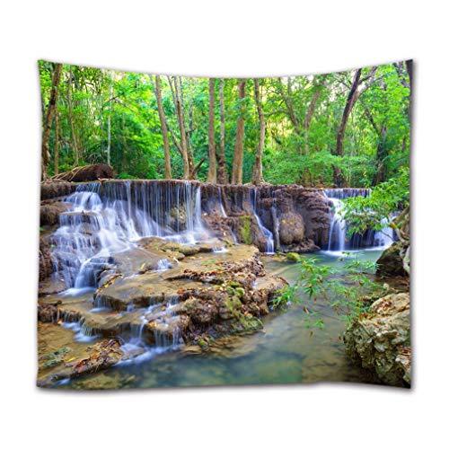 A.Monamour Tapices de Pared Bosque Verde Árboles Montaña Cascada En Kanchanaburi Tailandia Paisaje De La Naturaleza Tela Tapiz De La Pared Tapices Decorativos para Dormitorio 153x203cm