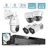 Amcrest 4MP Security Camera System, w/ 4K 8CH PoE NVR, (4) x 4MP Bullet POE IP Cameras, (1) X 4MP Speed IP PoE Dome Camera, Pre-Installed 2TB Hard Drive, NV4108E-1053EW1-1028EW2-1026EW2-2TB (White)