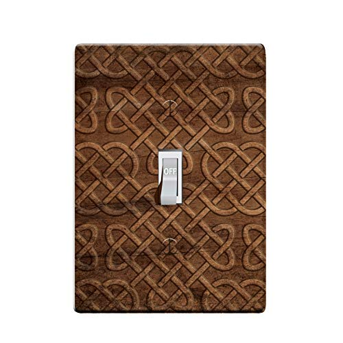 3-D Effect Printed Maxi Viking Norse/Celtic Knot Wood Pattern Switch/Outlet Cover L0047 (1-gang toggle)