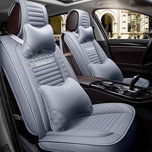 DHJP Car Seat, 5-seater Leather All-season Universal Seat Cover, All-inclusive, Compatible With Airbags (Color : Gray)