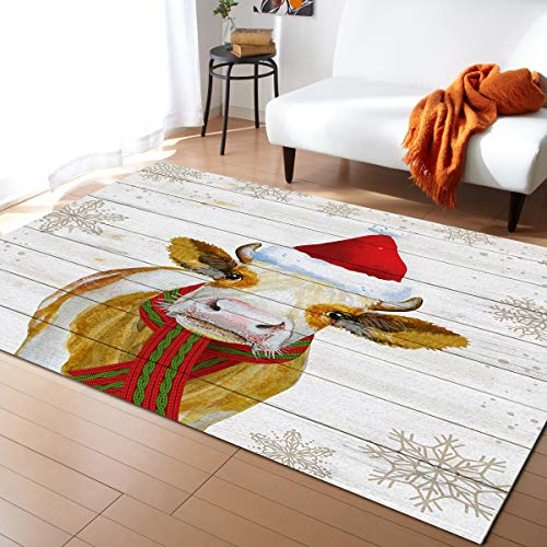 Area Rug Runner 5x8ft, Merry Christmas Cow Outdoor Runner Rugs Carpet for Hallway/Bedroom/Kitchen/Living Room/Indoor, Low Profile Pile, Non Slip, Cattle Snowflake Wood