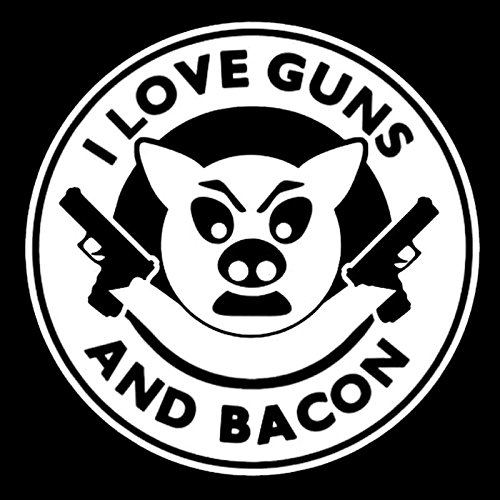 I LOVE GUNS AND BACON VINYL STICKER