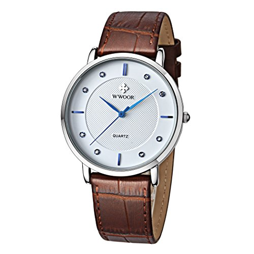Men's Luxury Brand Fashion Business Quartz Watch Men's Ultra thin Genuine Leather Watch Brown