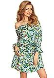 ANEWISH Vestido de verano para mujer, sin tirantes, sexy, mangas acampanadas, con flores, vestido corto, elegante verde S