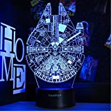 3D Star Wars Night Light, 16 Colors Changing Night Lights with Remote & Smart Touch, Christmas and Birthday Gifts for Kids and Star Wars Fans (Millennium Falcon)