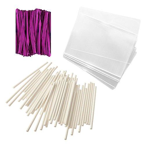 Baking Addict 100 Cake Pop Treat Bag Sets Metallic Twist Ties, Lollipop Sticks, Clear Cello Favor Bags, 4' W, Pink