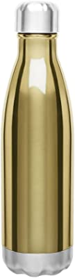 Double Wall Stainless Steel Thermal Travel Bottle, Vacuum Insulated, Copper Lined, 17oz. Capacity - Gold