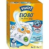 Swirl EIO 80 MicroPor Plus Staubsaugerbeutel für EIO, Koenic, Quigg Staubsauger, Anti-Allergen-Filter, 4 Stück inkl. Filter