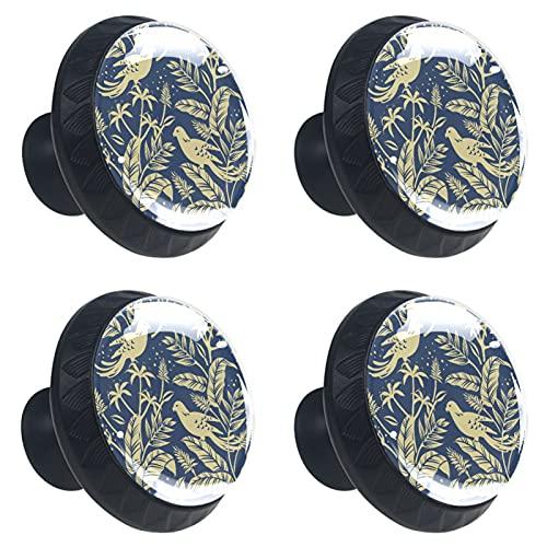 KAMEARI Gold Birds in The Nature - Tiradores de cajón (4 piezas, con forma de círculo, de cristal, con tornillos, para el hogar, la cocina, la oficina