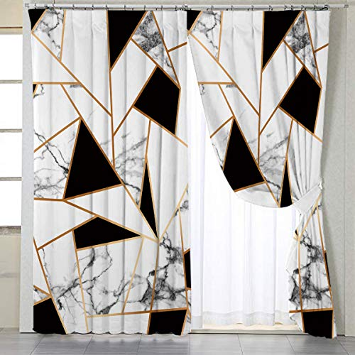"""BlessLiving Gold White Curtains for Living, Dining Room and Bedroom Geometric Curtain Marble Elegant Fabric Curtain Window Curtains,1 Panel,42"""" W x 63"""" L, Grommet"""