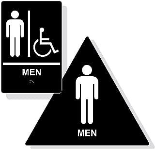 ADA Compliant Men Restroom Sign Set of Door and Wall Sign,Tactile Braille Signs (Black)