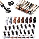 17 bolígrafos de muebles, kit de reparación de madera, marcadores y barras de cera con kit de afilador, para reparación de arañazos, retoque de madera, kit de reparación de retoques
