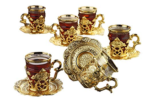 Gold Case Gold plated Turkish Tea Glasses Set for 6 - Made in Turkey - 18 pieced METAL set in Gift Box, Gold