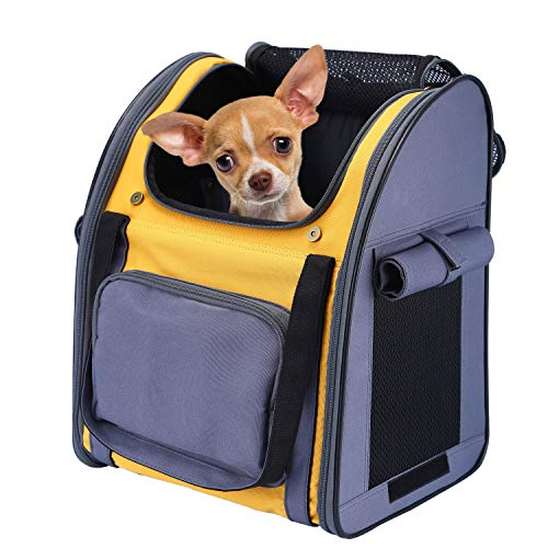 PETTOM Pet Backpack Carrier for Dogs Cats Puppies Bunny, Pet Carry Bag with Ventilated Design, Sun-proof Curtains, Two-Sided Entry, Head Window, Removable Fleece Mat for Outdoor Travel Hiking