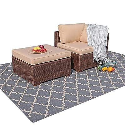Patiorama 2 Piece Outdoor Patio Furniture Set, All Weather Wicker Patio Sectional Sofa Set with Ottoman,Corner Sofa Chair, Beige (Corner & Ottoman)