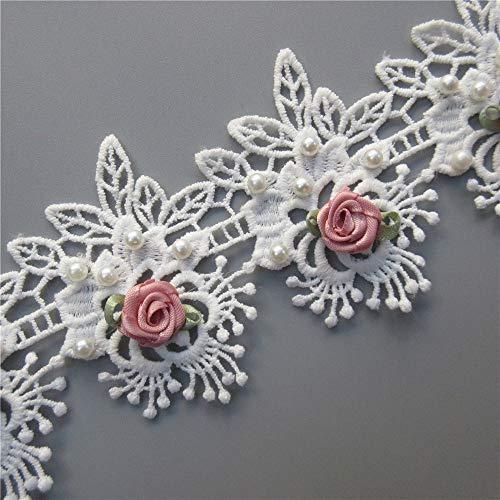 1 yarda, clásico, de algodón, para pestañas, flores, hojas bordadas, encaje de tela, apliques florales, cinta de encaje, adornos de novia, hechos a mano, suministros de costura...