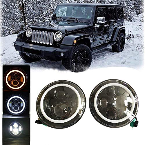 2 Pack-Lantsun 7 Inch Round CREE LED Projector Headlights with White Halo Angel Eye Ring DRL & Amber Turn Signal Lights for 2007-2018 Jeep Wrangler JK JKU(L022)