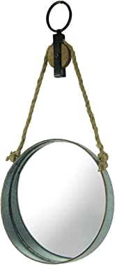 Zeckos Farmhouse Rustic Round Metal Barrel Ring On Rope Pulley Decorative Wall Mirror